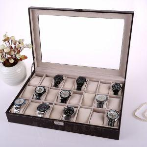 Uhrenbox Uhrenkoffer Uhrenkasten mit Glasdeckel PU-Leder f. 24 Uhren