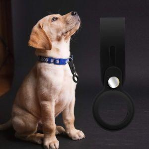 Schutzhülle Schlüsselanhänger für Airtags Silikon Hülle Air Tag Anhänger Schlüsselbund Zubehör Gepäckanhänger Hundehalsband schwarz