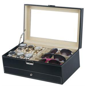 Uhrenbox Brillenbox Schmuckbox Kettebox mit Schaufenster zweistöckig