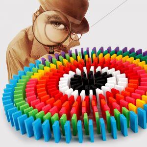 Dominosteine Bunte Holz Bausteine Spielzeug Bodenspiel 600 Stücke Set
