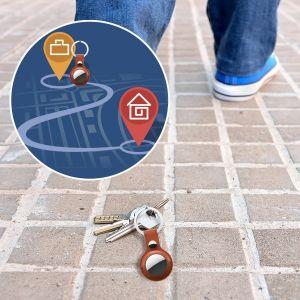 Schlüsselanhänger Schutzhülle für Airtags Silikon Hülle Air Tag Anhänger Schlüsselbund Zubehör Gepäckanhänger Hundehalsband braun