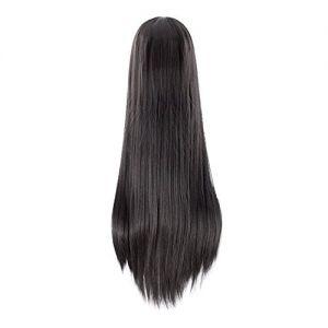 Frauen lange gerade schwarze Perücke hitzebeständige synthetische Perücke