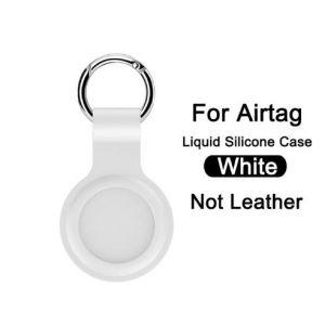 Schlüsselanhänger Schutzhülle für Airtags Silikon Hülle Air Tag Anhänger Schlüsselbund Zubehör Gepäckanhänger Hundehalsband weiss