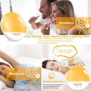 Lichtwecker Wake Up Licht FM Radio Alarm Tageslichtwecker Simulation Lampe Light für Erwachsene und Kinder