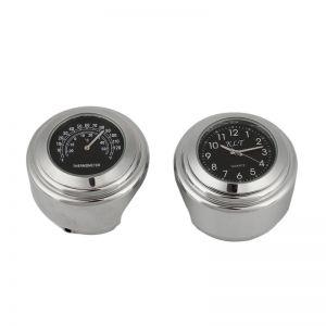 Motorrad Uhren Lenkeruhr Thermometer Aluminiumlegierung f. Harley 2pcs