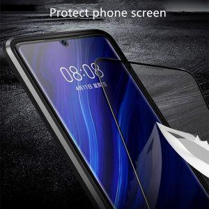 Huawei P30 Transparent Gehärtetes Glas Schutzhülle Metall Flip Cover