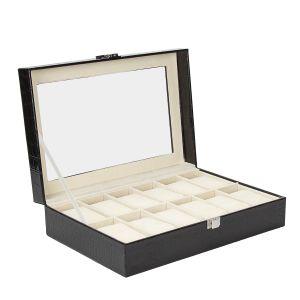 Uhrenbox Uhrenkoffer Uhrenkasten mit Glasdeckel PU-Leder f. 12 Uhren