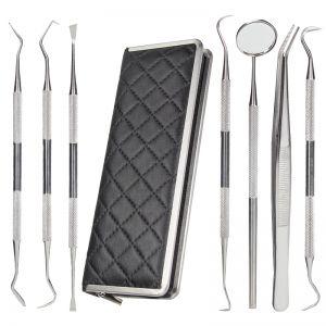 Zahnsteinentferner Zahnpflege Dental Set Edelstahl mit Tasche 7stk