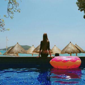 Schwimmring Krapfen Schwimminsel Luftmatratze Schwebebett aufblasbar