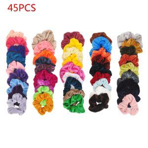 Haarbänder 45er Pferdeschwanz Scrunchie Einfarbig Traceless Haarseil