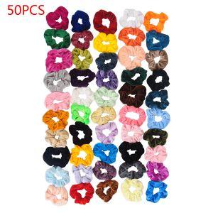 Haarbänder 50er Pferdeschwanz Scrunchie Einfarbig Traceless Haarseil