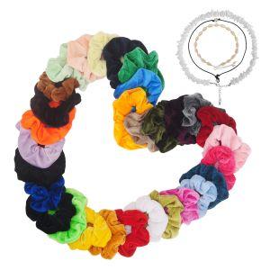 Damen Halskette Perlen Kette 3Pcs mit 30Pcs Bunte Samt Hair Scrunchie
