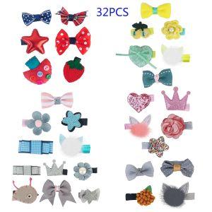 32er mehrfarbige Haarspangen für Mädchen mit verschiedenen Designs