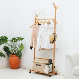 Garderobenständer Kleiderstange Bambus Kleiderständer mit Rollen 176cm