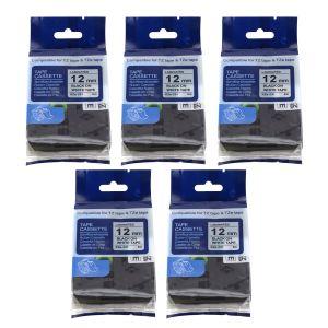 12mm Etikettenband Schriftband als Ersatz für Brother P-touch 5pcs Set