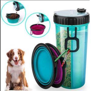 Trinkflasche Hund mit 2er Faltbare Fressnapf für Hunde und Katzen
