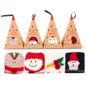 4 Paar Weihnachtssocken Kuschelsocken Wintersocken mit Geschenkbox