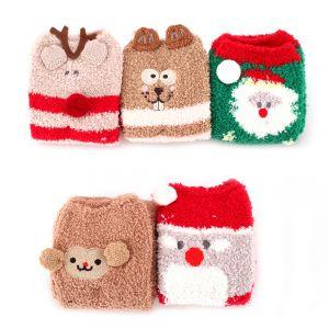 5 Paar Weihnachtssocken Kuschelsocken Wintersocken mit Cute Cartoon