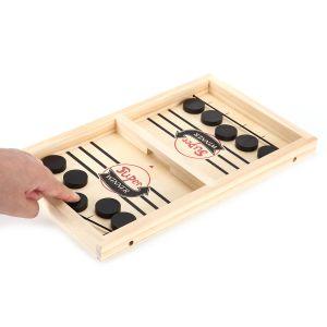 Hockey Brettspiel Spielzeug Tischhockey Katapult Brettspiel 2 in 1 Eltern-Kind Interaktion, Tischhockey Holz Fast Sling Puck Game Portable Schachbrett-Set Partyspiele