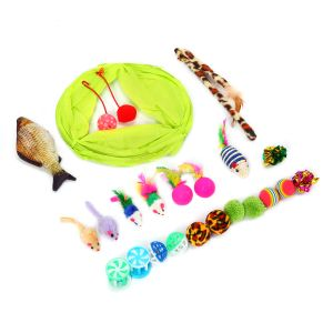 Kätzchen Spielzeug Set 22 Stück mit Bälle Katzenspielzeug mit Katzentunnel Bälle Federspielzeug Spielzeug