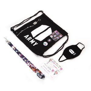 Geschenk Set BTS Sporttasche 9 Stück BTS Set für Armband Kordelzugbeutel Mundmaske und Tunnelzugbeutel, für BTS-Fans