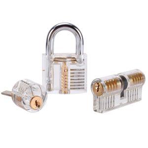 Lockpicking Set Dietrich Set Lock Pick Set 15 Stück mit 3 Transparentem Trainingsschlössern für Anfänger und Profis Schlosser