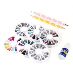 Räder Steine Platzierstifte Nagel Leim Nail Art Tools Maniküre Zubehör
