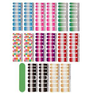 8pcs Glitzer Nagelaufkleber Nagelkunst Sticker Maniküre Sticker Nagelfeile