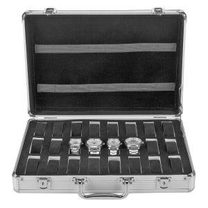 Uhrenbox Uhrenkoffer Uhrenkasten Uhrenvitrine Aluminum für 24 Uhren