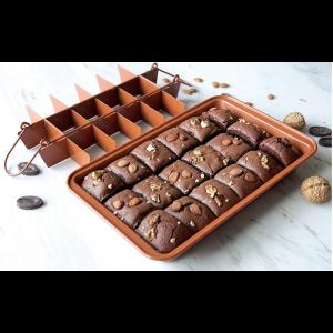 Eckige Backform Kuchenform Backgeschirr Brownie mit hebeboden Trennwänden