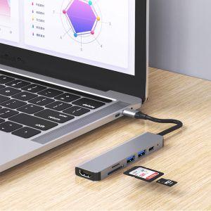 USB C Hub 6 Ports Docking Station Triple-Display USB C Adapter