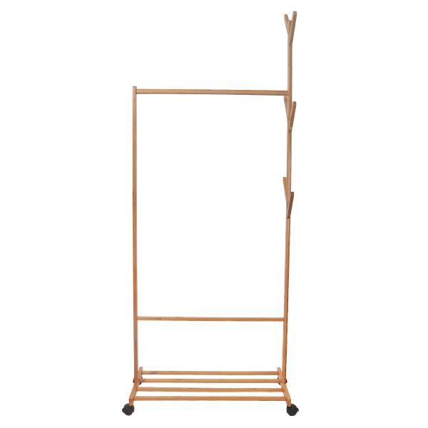 Sicher Einkaufen Und Topservice Garderobenstander Kleiderstange Bambus Kleiderstander Mit Rollen 176cm